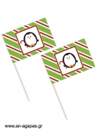 Toothpick Flags Holiday Joy