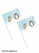 Toothpick Flags Winter Pals
