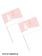 Toothpick Flags  Pink Christmas