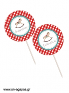 Cupcake toppers Blue Dots & Stripes