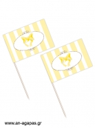 Toothpick flags Yellow Dots & Stripes